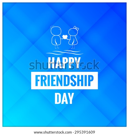 Nice and beautiful vector abstract for Happy Friendship Day with girl and boy illustration in a creative check design pattern in background. - stock vector