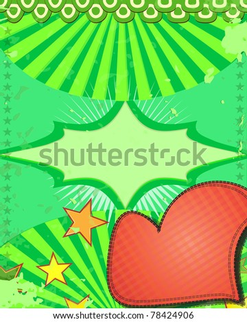 Nice background with heart and stars Vector illustraration - stock vector