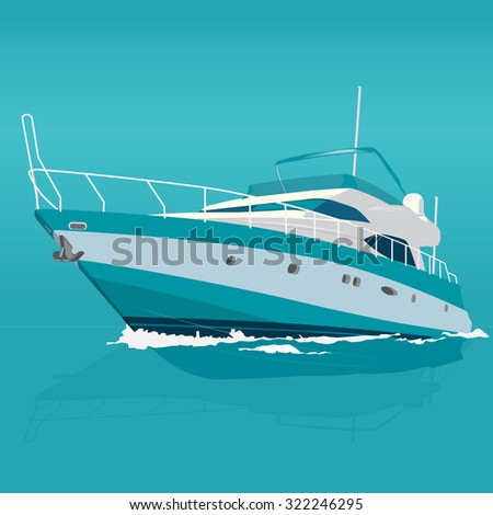 Nice blue boat on the surface, nice illustration of fishing ship