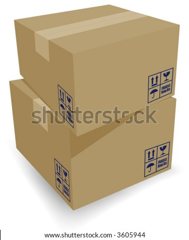 Nice Cardboard Shipping boxes stacked. Easy-edit layered files. - stock vector