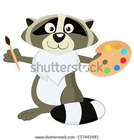 Nice cartoon raccoon as a artist - stock vector