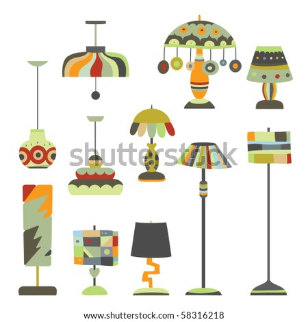 Nice collection of lighting objects with various shapes and contemporary designs (created by me). - stock vector