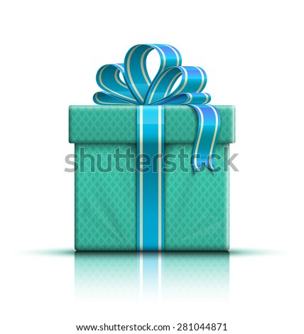 Nice color glossy gift box with bow and ribbon. Vector illustration - stock vector