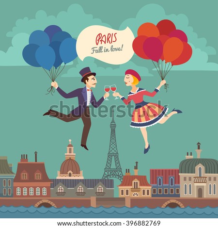 Nice Colorful Retro Card with Cartoon Drawn Lovers in Paris, flying with Red and Blue Balloons and White Sign, stylized as French National Flag  - stock vector