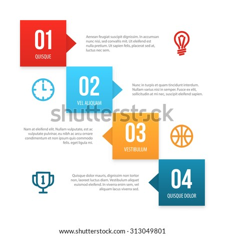 Nice colorful vector infographic layout with copy spaces for your text. Good as a presentation template. - stock vector