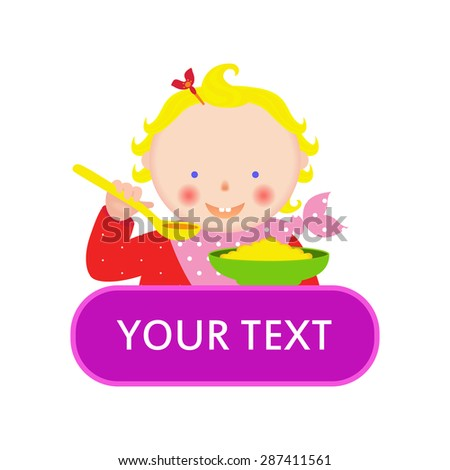 Nice eating girl with a spoon and bowl of porridge. child's menu. Kids meal. Banner. Vector - stock vector