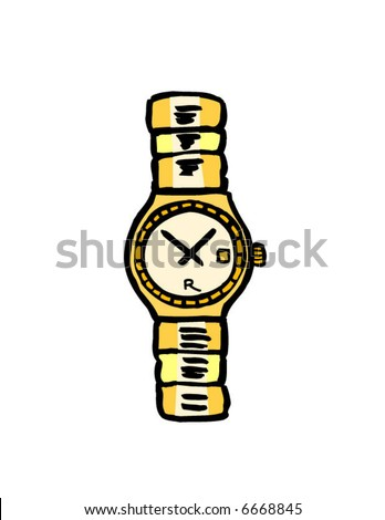 Nice gold watch - stock vector