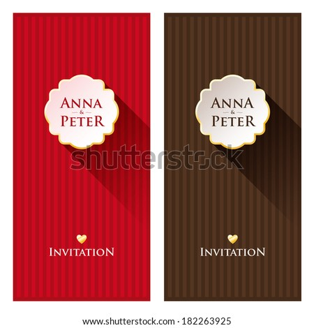Nice greeting cards with stripes in background for wedding invitation, birthday or other holiday. Colorful template for your design. Just replace the text.