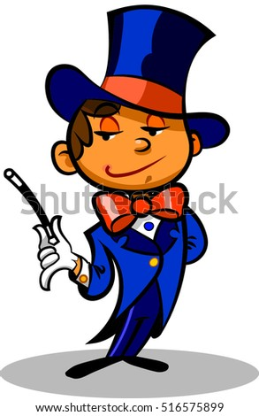 Nice illustration of a little magician with hat and magic wand.