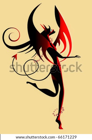 nice imp the sexual woman black with a tail, wings and horns looks in the sky - stock vector