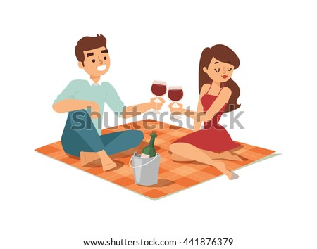 Nice looking young american male student date flirting boy and girl chasing pleased on outdoor date. Date flirting boy and cute girl. Vector character date flirting boy and girl happiness together. - stock vector