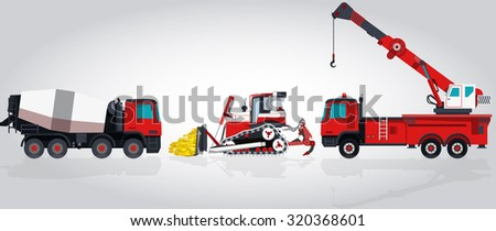 Nice Red and White Big Set of Ground Works Machines Vehicles, Construction and Equipment for building. Truck, Digger, Crane, Small Bagger, Mix, Extravator