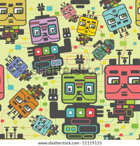 Nice robots seamless pattern - stock vector