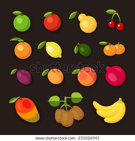 Nice set of fruit vector icons on dark background. - stock vector