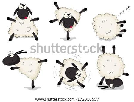Nice set of vector cartoon sheep - stock vector