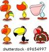 nice set of vector of birds, including a rooster, hen, toucan, duck, goose, pelican, turkey - stock photo