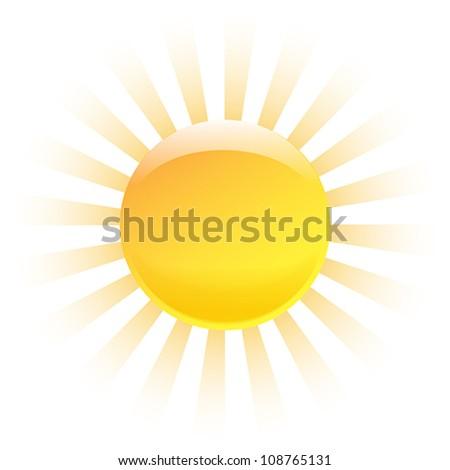 Nice shining sun isolated on white background. Vector illustration - stock vector