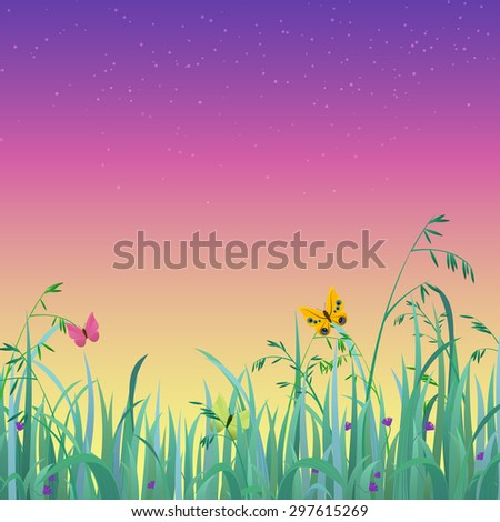 Nice shiny fresh butterfly dusk sky grass lawn with bokeh blur effect sunshine beam background. Nature spring summer backgrounds collection. - stock vector