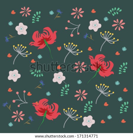 Nice spring ethnic pattern with  flowers, vector illustration, background