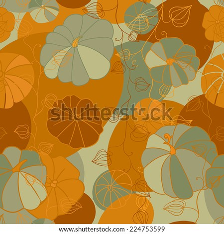 Nice thanksgiving and halloween seamless pattern with pumpkins - stock vector