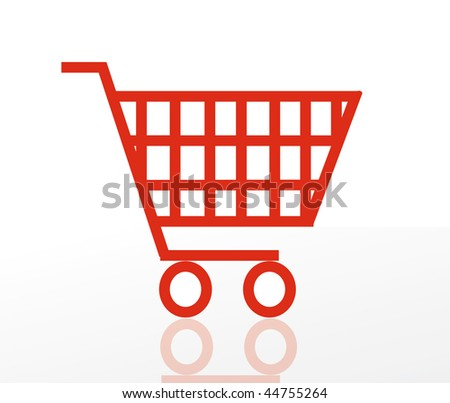 nice vector illustration of shoping cart isolated on white background. Icon shopping basket. - stock vector