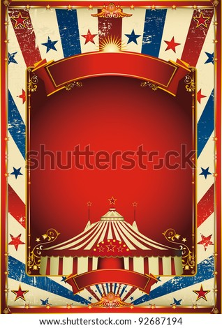 Nice vintage circus background with big top. A retro circus poster for your advertising. - stock vector