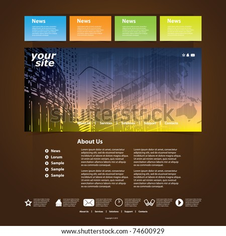 Nice Website Template - stock vector