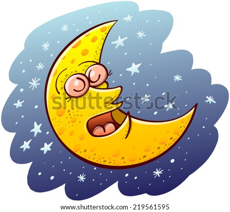 Nice yellow waning moon with bulging eyes and snub nose while sleeping placidly and floating in the middle of a blue space and numerous tiny stars - stock vector