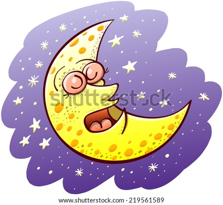 Nice yellow waxing moon with bulging eyes and snub nose while sleeping placidly and floating in the middle of a violet space and several shiny stars - stock vector