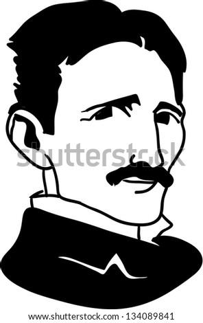 Nicola Tesla - black and white illustration - stock vector