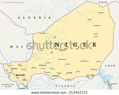 Niger Political Map with capital Niamey, national borders, most important cities, rivers and lakes. Illustration with English labeling and scaling. - stock vector