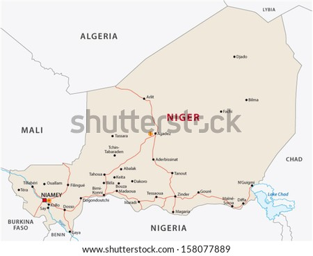 Niger road map - stock vector