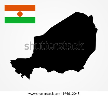 Niger vector map  isolated on white background. High detailed silhouette illustration. - stock vector