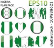 Nigeria Flag Map Pack - 9 in Total - stock vector
