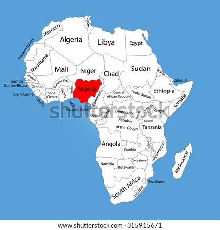 Nigeria vector map silhouette isolated on Africa map. Editable vector map of Africa.  - stock vector