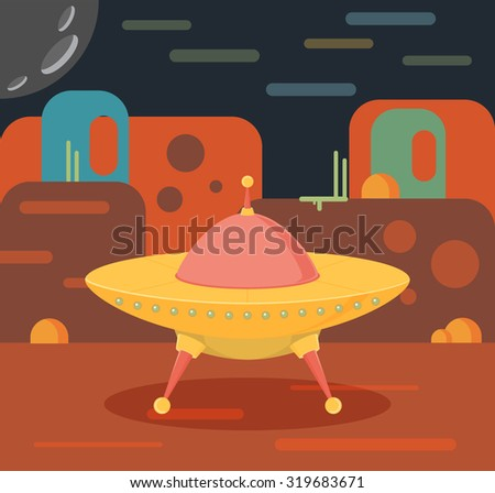 Night alien world landscape and ufo spaceship - stock vector