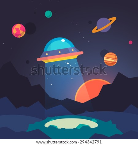 Night alien world landscape and ufo spaceship with beam of light on starry sky background. Flat vector illustration.