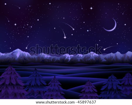 Night alpine scenery with evergreen firs - stock vector