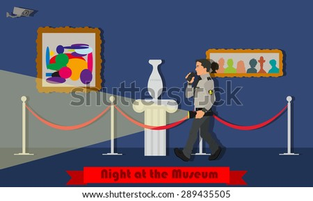 Night at the Museum. Museum security guard patrols at night. Vector illustration in a flat style. - stock vector