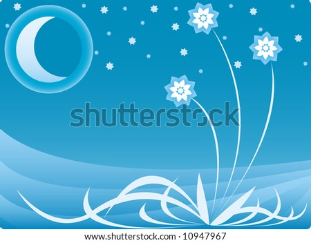Night background composition with moon, stars and three flowers - stock vector
