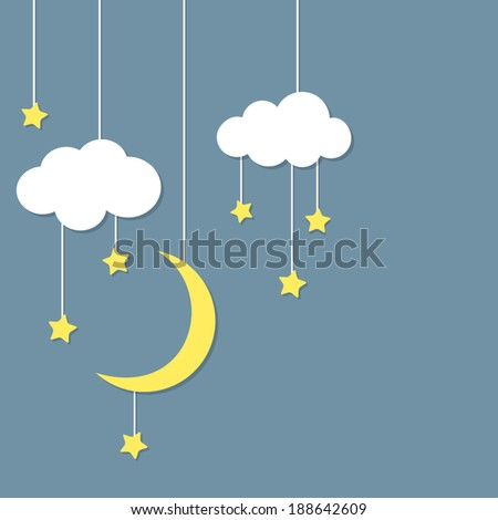 Night background with new moon, stars and clouds hanging - stock vector