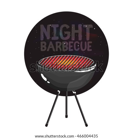 Night barbecue badge / icon with bbq grill. Barbecue invitation flyer