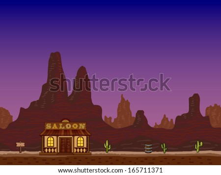 Night canyon with saloon - stock vector