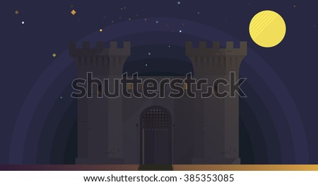 night castel in moon purpure background medival hdnndy  - stock vector