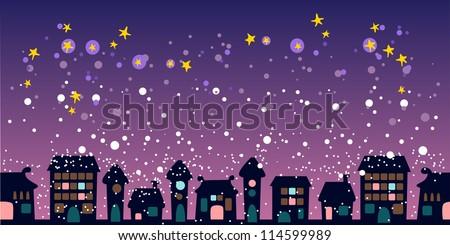 Night christmas city - stock vector