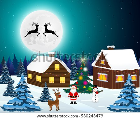 Night christmas forest landscape. Santa Claus with reindeer and.