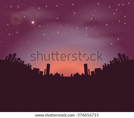 Night city buildings silhouettes on a background of the night sky and the rising sun. Vector illustration - stock vector