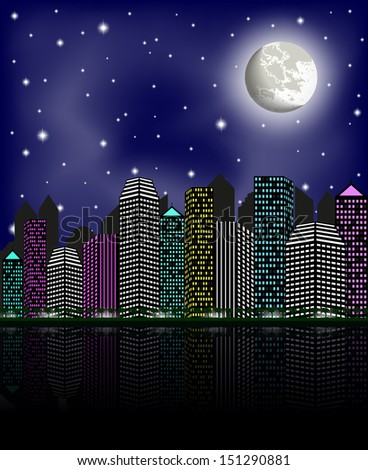 Night city, clear sky and moon, vector illustration  - stock vector