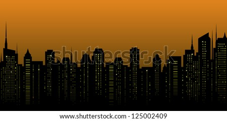 night city landscape and many tall skyscrapers on the street - stock vector