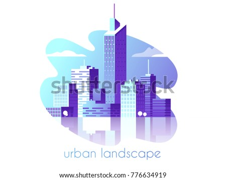 Night city landscape. Modern architecture, buildings, skyscrapers. Flat vector illustration. 3d style.